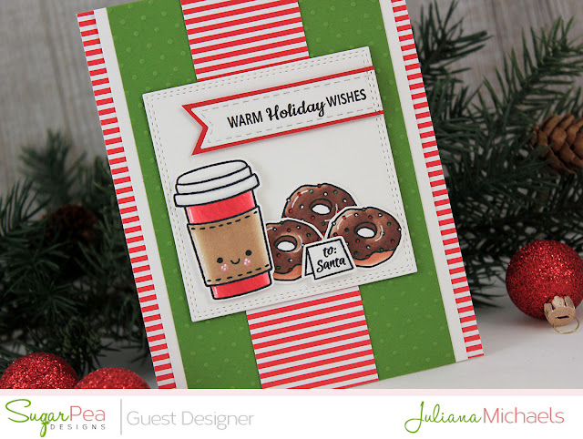 Detail image - Warm Holiday Wishes Christmas Card by Juliana Michaels featuring Mugs and Wishes Stamp Set by Sugar Pea Designs