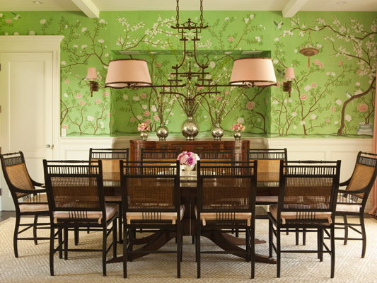 Thornton Designs Chose This Stunning Bright Green Chinoiserie To Give A Light Dining Room I Hen Love It