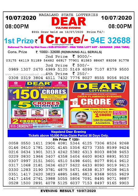 Nagaland State Lotteries 10-07-2020 Lottery Sambad Result 8:00 PM