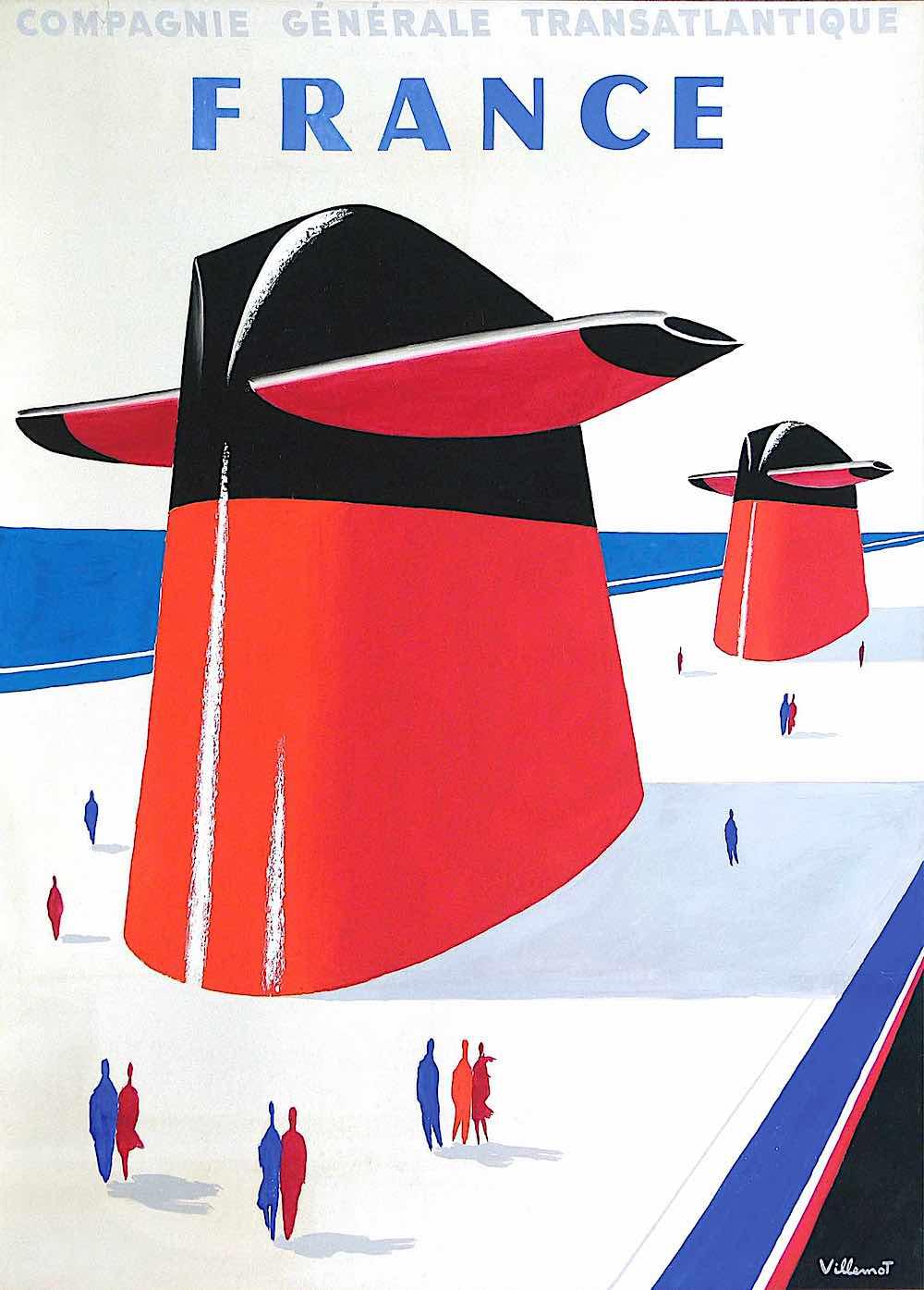 a Bernard Villemot poster illustration for Compagnie Generale Transatlantique France, a giant ship