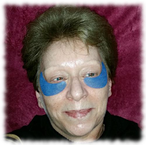 Me wearing the eye masks