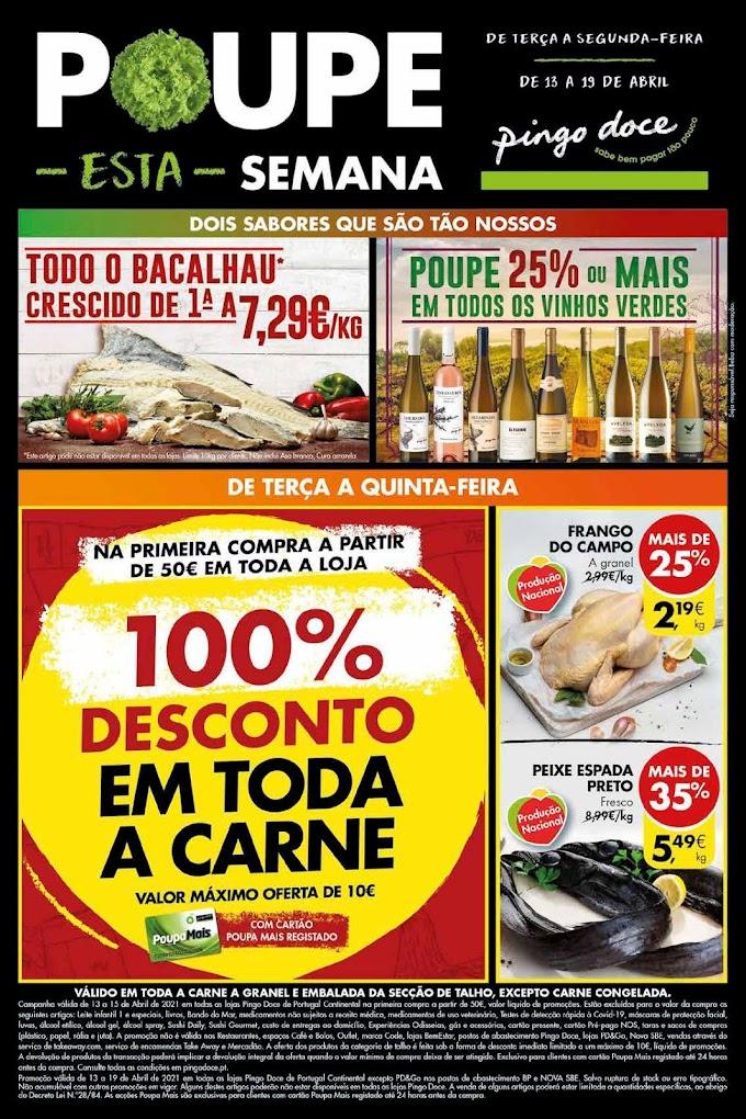 """Folheto PINGO DOCE """"Poupe esta Semana"""" com mega promoções de 13 a 19 de abril"""