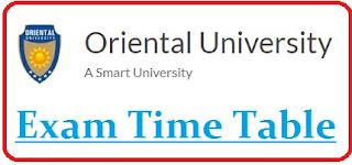Oriental University Exam Date Sheet 2020