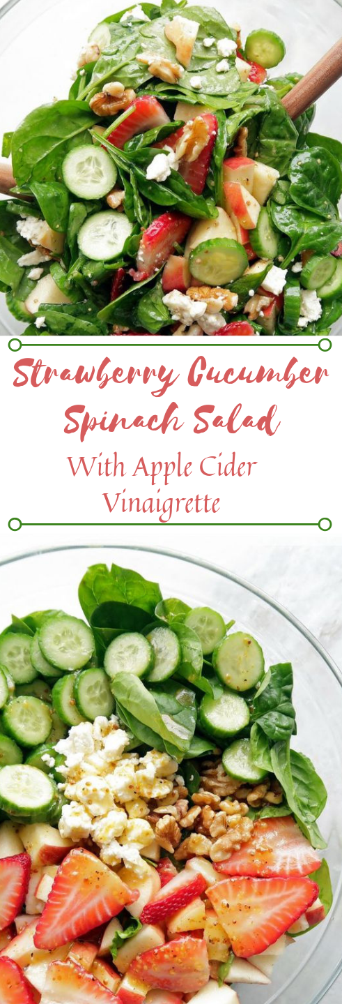 STRAWBERRY CUCUMBER SPINACH SALAD WITH APPLE CIDER VINAIGRETTE #salad #diet #keto #apple #healthyrecipe