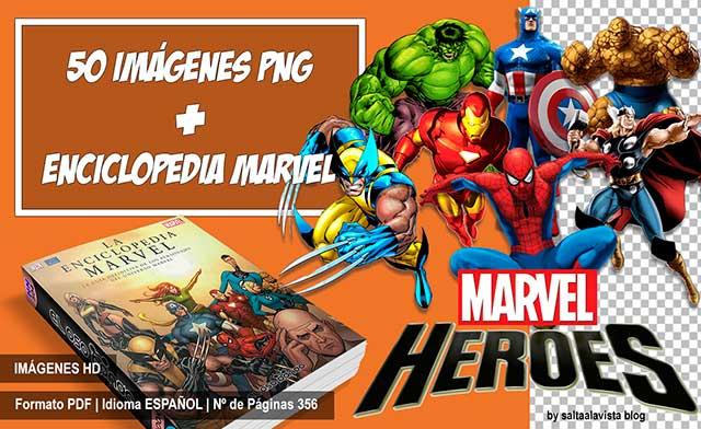 Pack de Imágenes HD sin fondo de Héroes Marvel + Enciclopedia Marvel en español y PDF