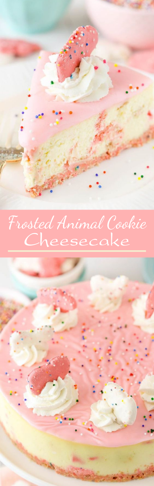 Frosted Animal Cookie Cheesecake #desserts #cake