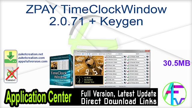 ZPAY TimeClockWindow 2.0.71 + Keygen