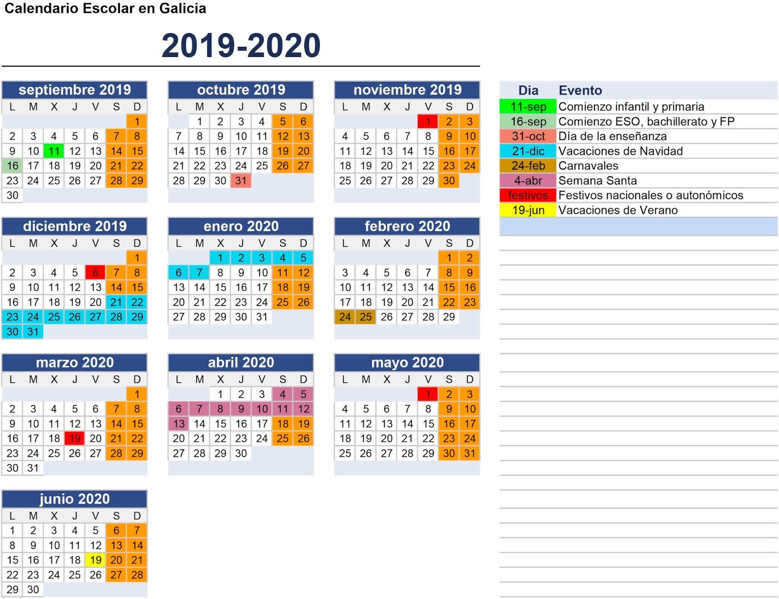 Calendario Escolar Galicia 2020 Y 2019.Anpa Eduardo Sanjurjo Calendario Escolar 2019 2020