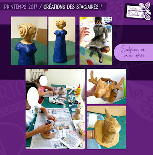 Atelier Cartons Dudulle- stages sculpture papier mâché - adultes enfants - Printemps 2017