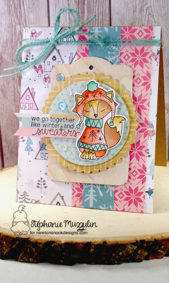 Fox in Sweater Card by Stephanie Muzzulin | Sweater Weather Stamp Set by Newton's Nook Designs #newtonsnook