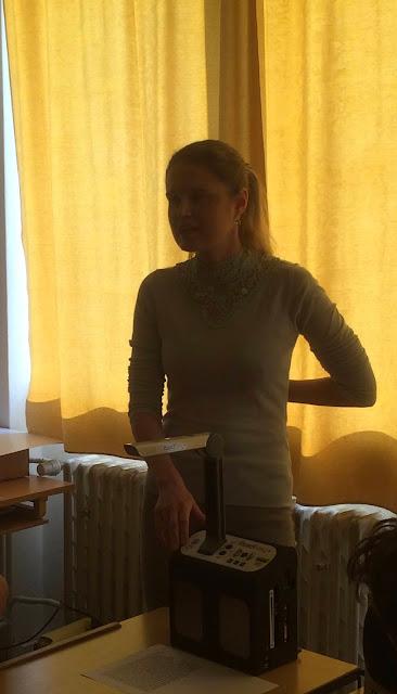 Linda přednáší na ZŠ Lazaretní