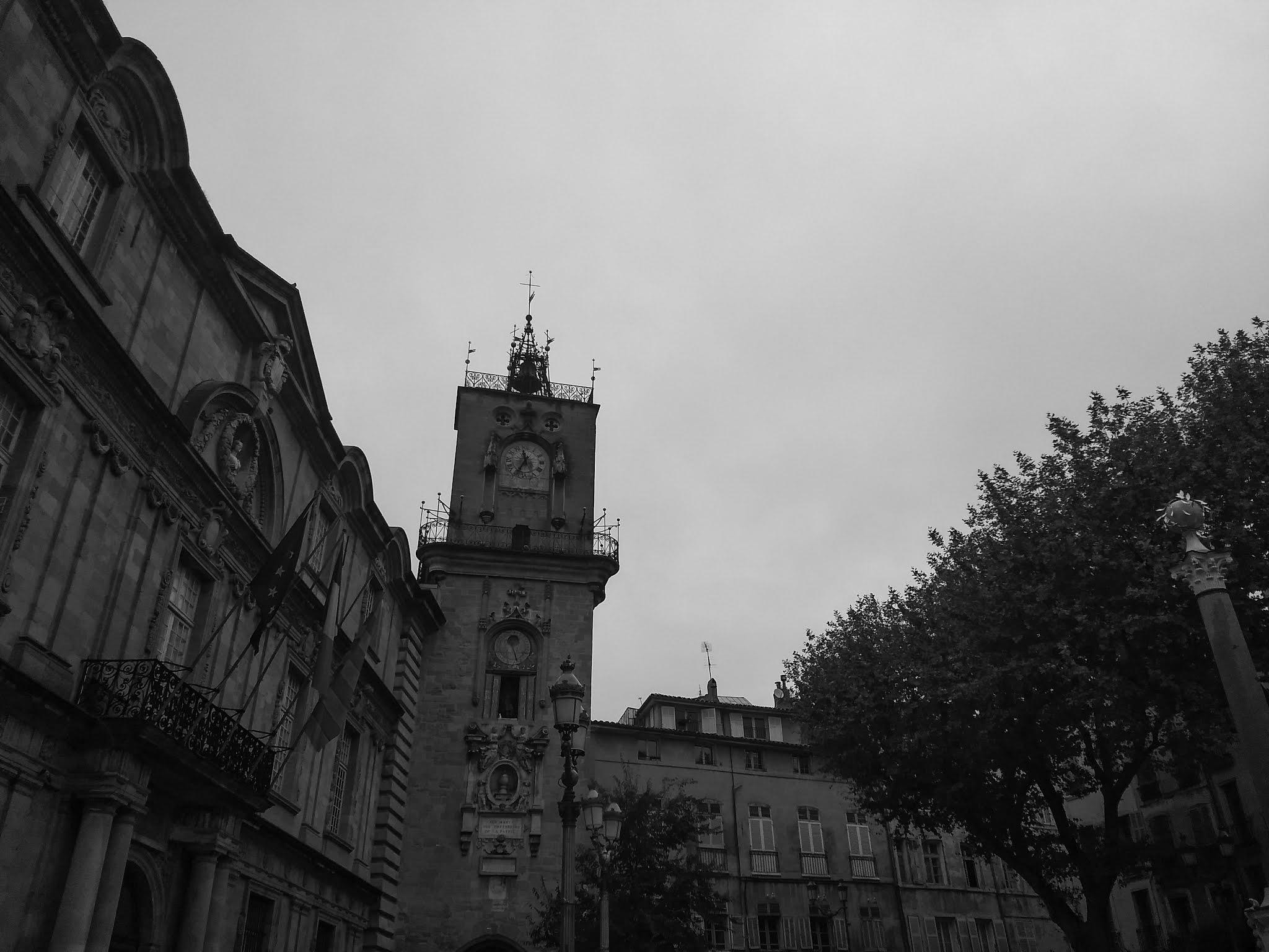 The belfry at Place de l'Hotel de Ville next to the Town Hall in Aix-en-Provence.