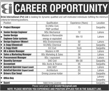 Brisk International (Pvt) Limited Jobs 2021 in Pakistan