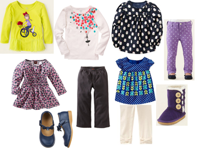 Baby Girl Fall Fashion Round Up Fall 2013 Infant Toddler Gymboree Children's Place Tea Collection Gap Old Navy H&M HM Shirts Jeggings Leggings Pants Shoes