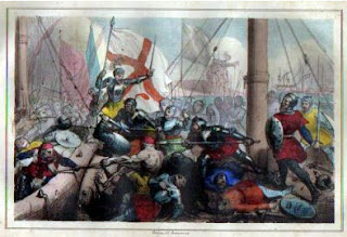 An artist's visualisation of the Battle of Meloria