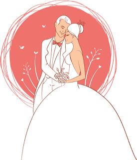 Clipart Image of a Bride and Groom