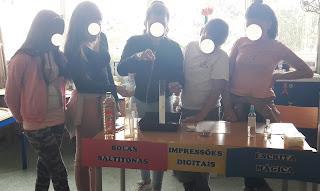 Cinco alunos de Alcabideche fazem a experiência das Bolas Saltitonas.