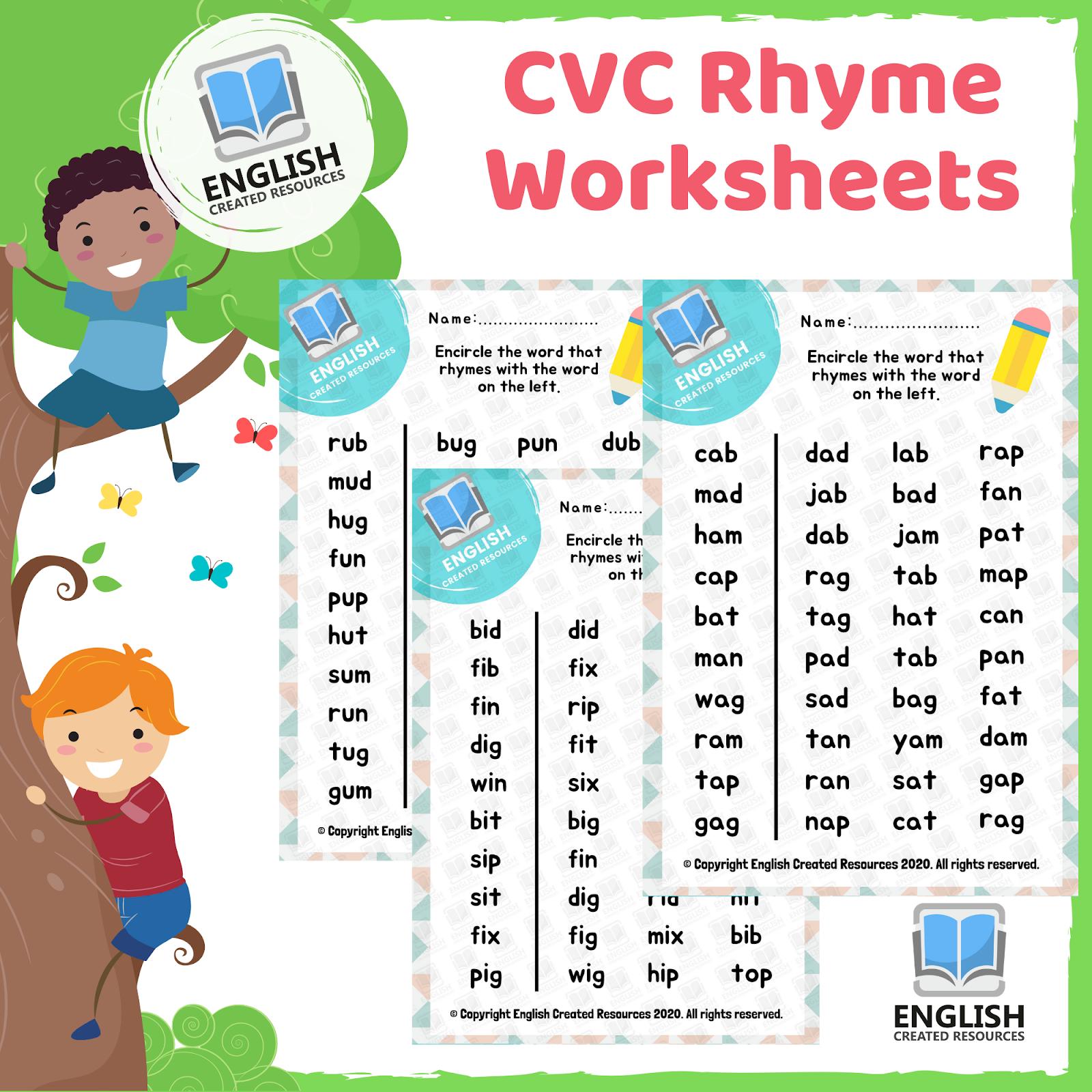 Cvc Rhyme Worksheets