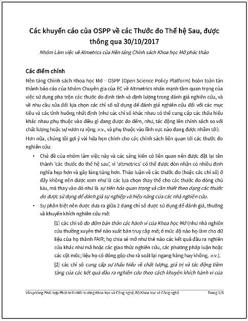 'Các khuyến cáo của OSPP về các Thước đo Thế hệ Sau, được thông qua 30/10/2017' - bản dịch sang tiếng Việt