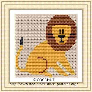 Lion, Free and easy printable cross stitch pattern