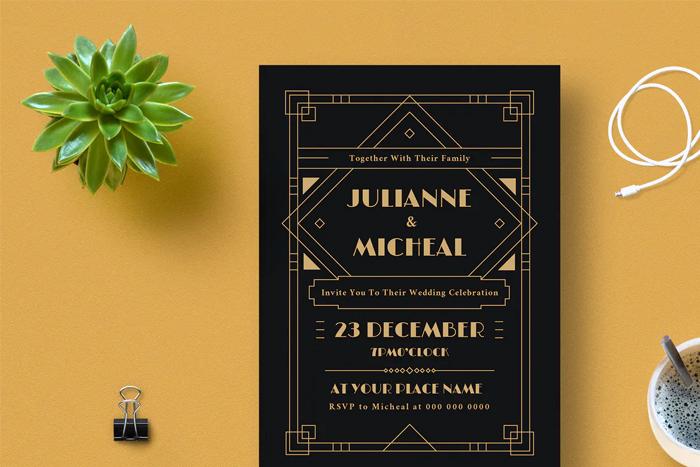 Art Deco Ticket Wedding Invitation Ai and Psd Bundle  6