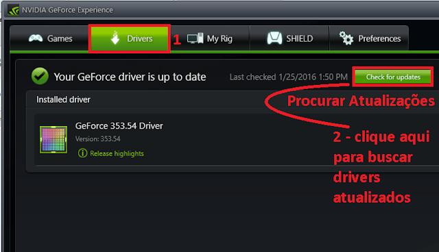 atualizando drivers placa de video nvidia geforce