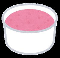 カップのアイスクリームのイラスト(ストロベリー)
