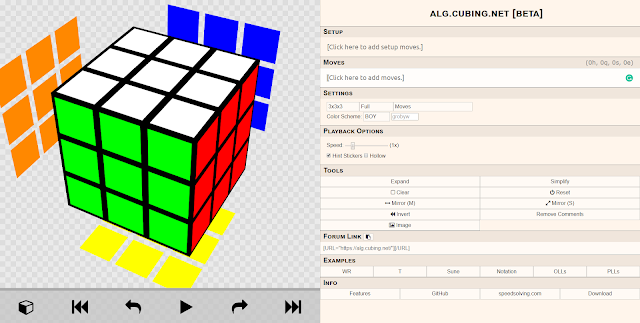 ALG.CUBING.NET screenshot homepage algorithm speedcubing
