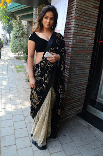Neetu Chandra in Black Saree at Designer Sandhya Singh Store Launch Mumbai (22).jpg