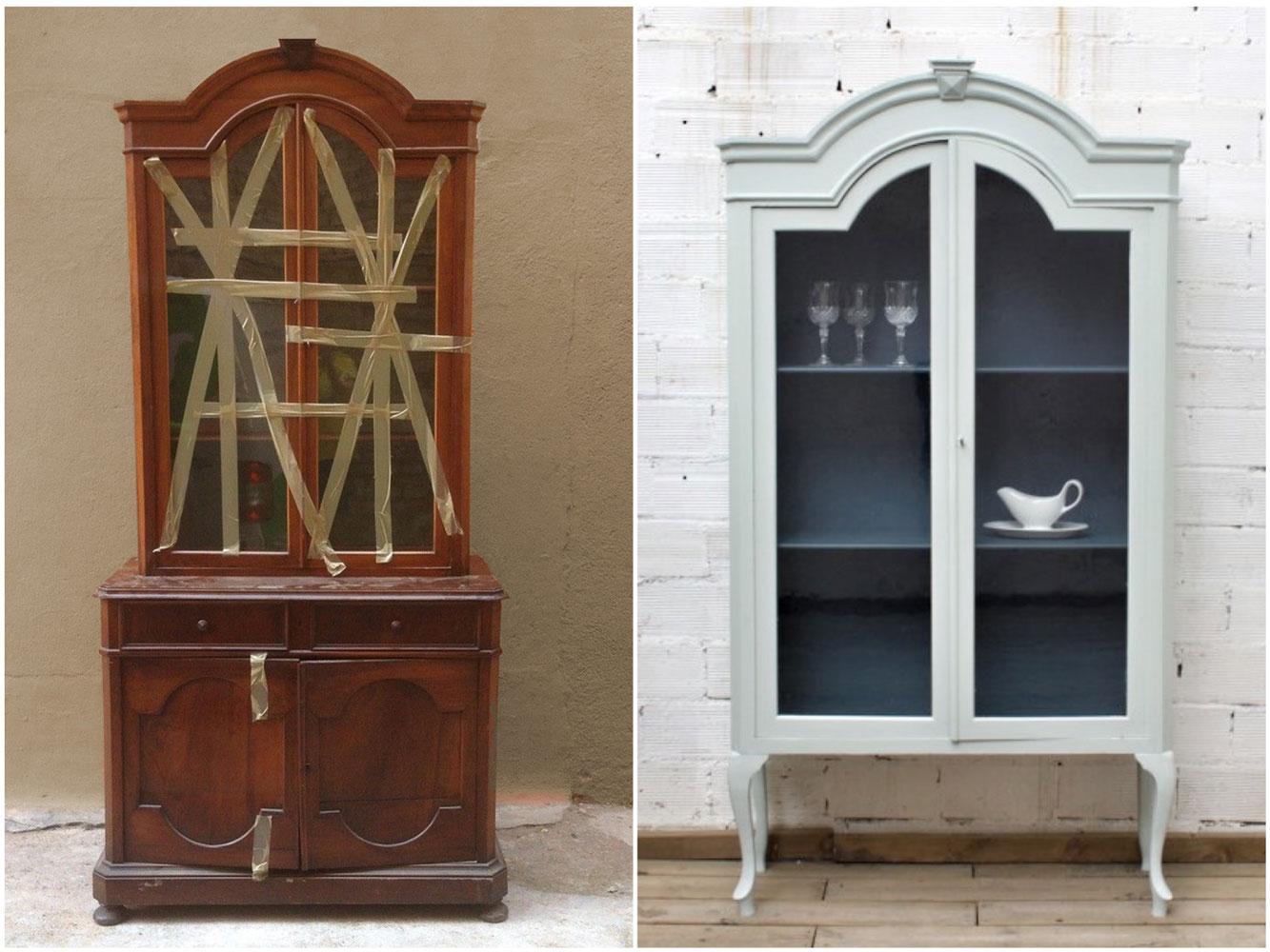 Antes y después  - Una vitrina transformado y pintada