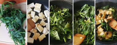 Zubereitung Gebratener Tofu mit grünem Blattgemüse