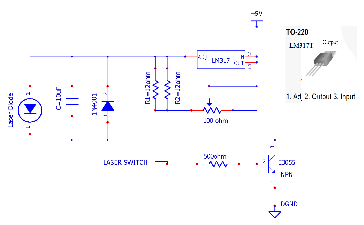 "Schematics of the laser driver and the switch. Laser is on only when ""Laser"
