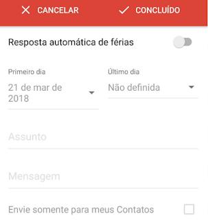 Configurar mensagem automática no aplicativo