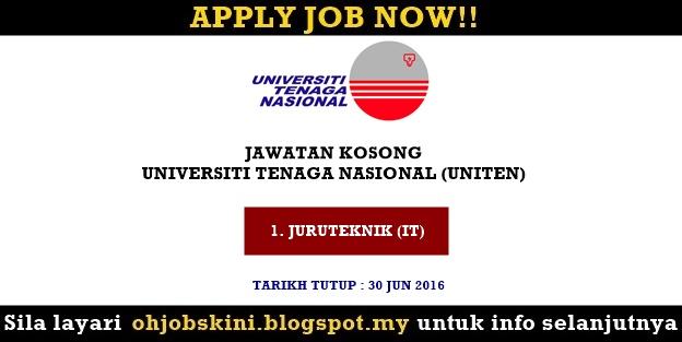 Jawatan Kosong Universiti Tenaga Nasional (UNITEN)