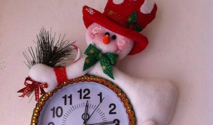 Relógio  Natal Papai Noel e Boneco de neve com moldes!