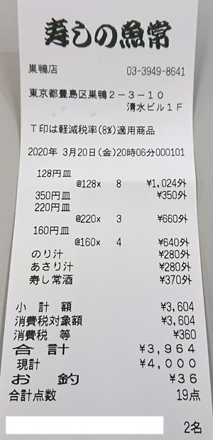 寿しの魚常 巣鴨店 2020/3/20 飲食のレシート