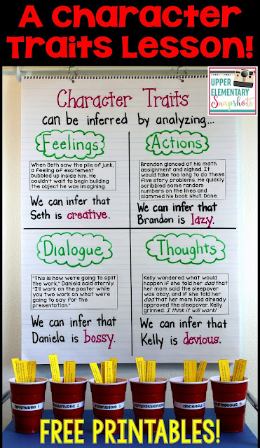Teach character traits with this character traits anchor chart and FREE activity! Ideal for the upper elementary classroom.