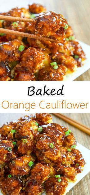 Crispy baked cauliflower pieces are coated in an orange sauce. It's like orange chicken but with cauliflower instead!