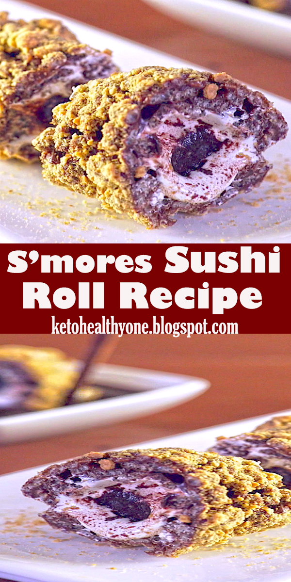 S'mores Sushi Roll Recipe #S'mores #Sushi #Roll #Recipe #dessert