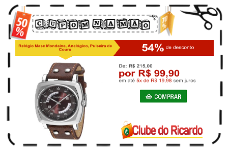 5b6ac55a3e3d8 Clube do Ricardo - Desconto de 54% em Relógio Masc Mondaine, Analógico,  Pulseira de Couro