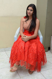 Actress Srilekha Stills in Red Dress at Oke Oka Aasa Movie Audio Launch  0024