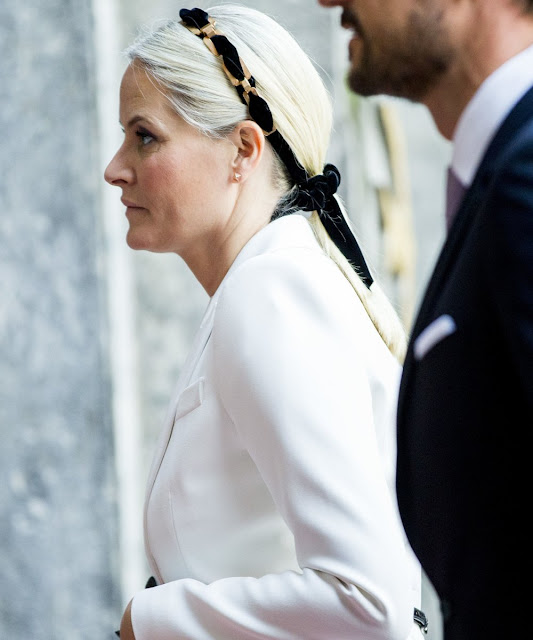 Prince Haakon and his wife Crown Princess Mette-Marit of Norway attend for the Peace Prize awarding ceremony