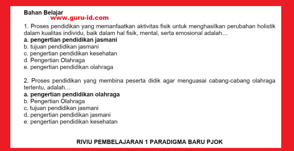 gambar kunci jawaban reviu pembelajaran 1 pjok seri PPPK