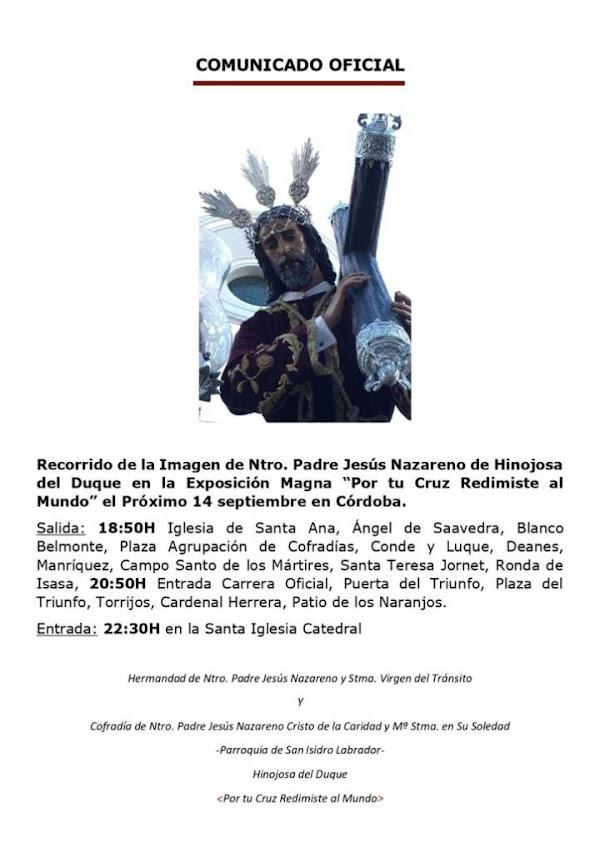 La Hermandad del Nazareno de Hinojosa del Duque ha confirmado en un Comunicado Oficial todos los detalles se su participación en la Procesión Magna.