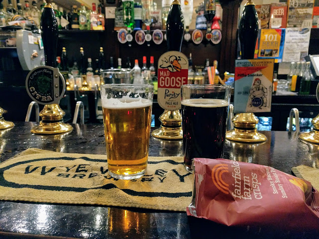 pints and crisps at the Wellington in Birmingham, England