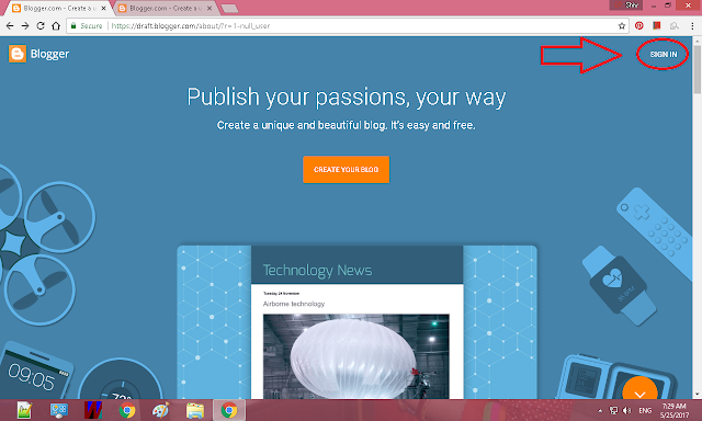 sign in button, creating a blog, blogger, blogging