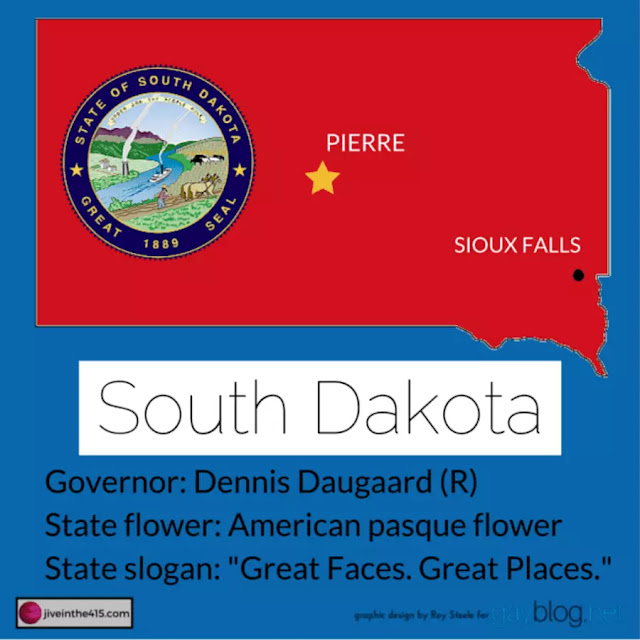 Map of South Dakota outlined in red with a marker indicating the location of Pierre (the state capital), Sioux Falls, and interesting facts.
