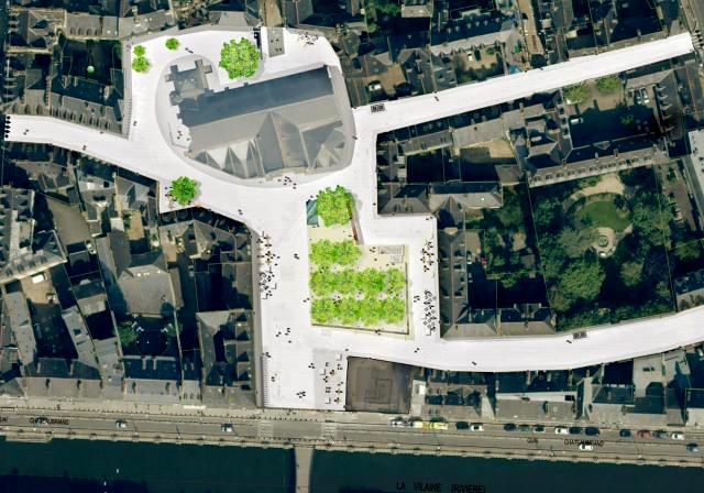 Les zones aménagées aux alentours de la Place Saint-Germain...