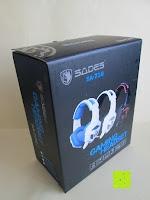Verpackung: LIHAO Sades SA-738 Spiel Kopfhörer Stereo USB Gaming Headset mit Mikrofon Blau LED Leuchte mit Sades Retail Geschenk Verpackung