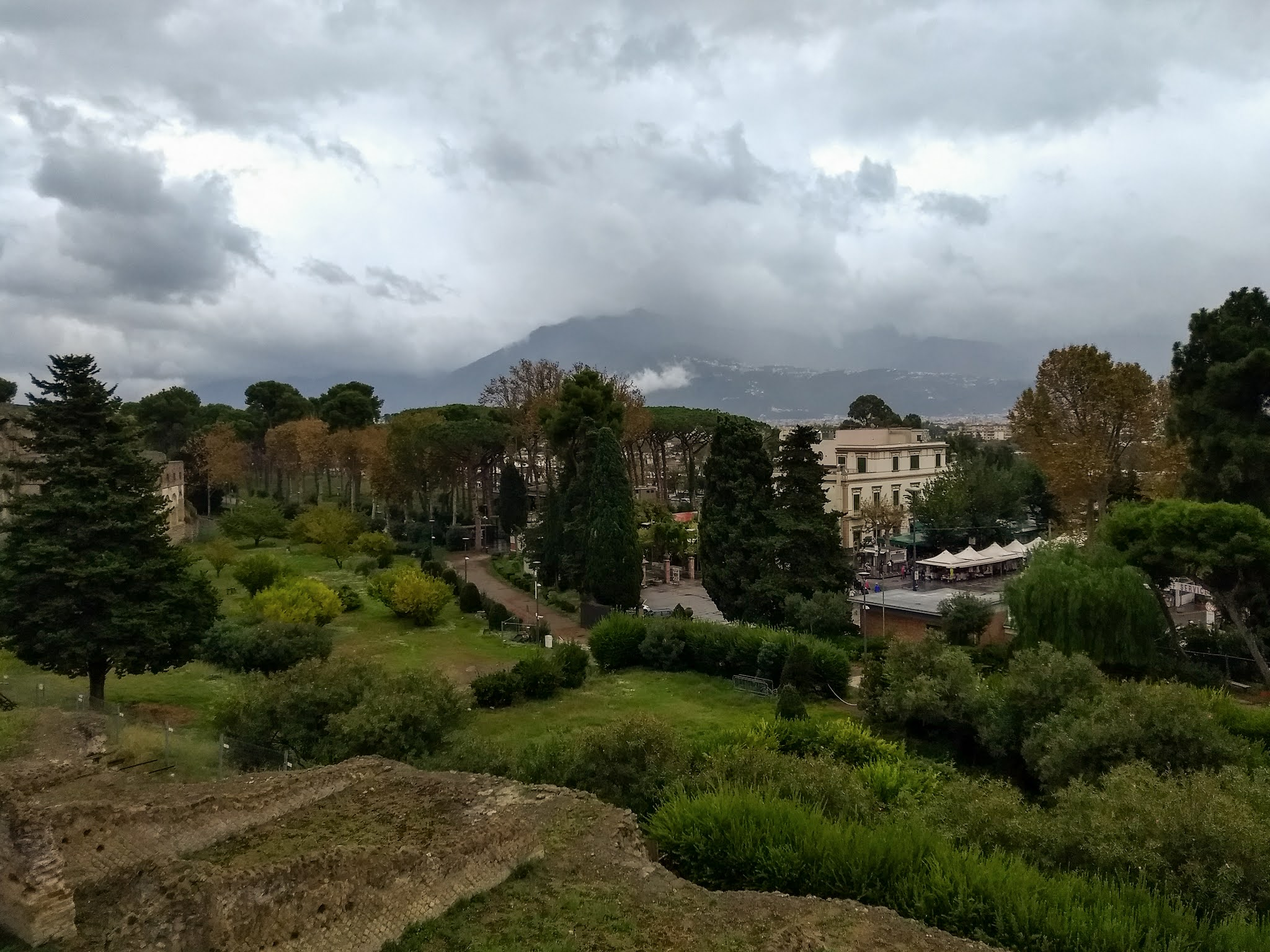 Views from the historic site of Pompeii with Mount Vesuvius in the distance.